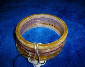 Vintage 4 marbré bracelets bakélite