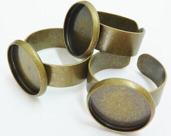 6 ring shanks, blanks, bases, settings, Ø14mm, bronze