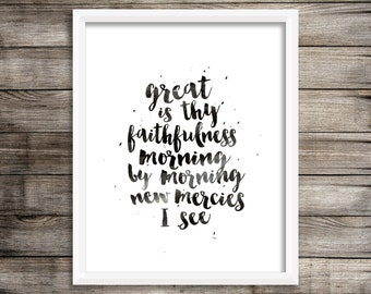 Great Is Thy Faithfulness - Watercolor Print (Digital Print)