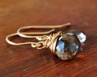 Smoky Quartz Gold Earrings 14k Gold Drop Earrings