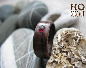Bentwood gemstone ring, Indian rosewood, Garnet Inlay, Wood Rustic Wedding Band, Bentwood Band, Wood and Garnet Ring, Mens wood ring