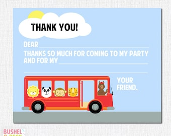 PRINTABLE Wheels on the Bus Thank Yous - #DIY #Digital #File (instant download)