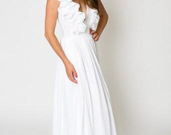 white ruffle BOHEMIAN WEDDING gauze maxi DRESS / beach wedding dress / deep-v plunge maxi dress / bohemian wedding / full skirt / more color
