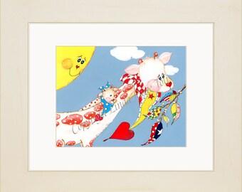 Luxury Framed Giraffe Baby Nursery Art - Linda Paige Tolis-Custom Personalized Baby Art -Luxury Baby Nursery