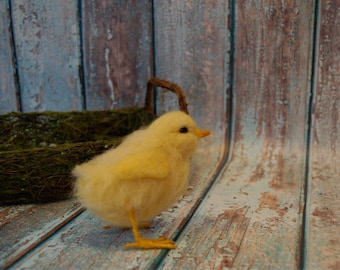 Needle Felted Spring Easter Chick - Wool Animal Art Sculpture - MADE TO ORDER