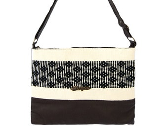Leather Tote Bag with Handwoven and Brocade Insert. Geometric, Mexican-inspired Design.