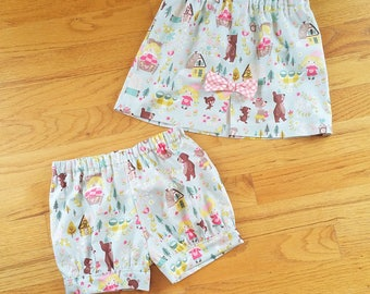 Goldilocks Banded Bubble Shorts, bloomers, ruffle shorts or Slim Skirt for toddler girls - Choose your own style - 3 months to size 6