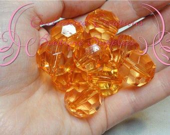 20mm Transparent Orange Faceted Acrylic Beads Qty 10