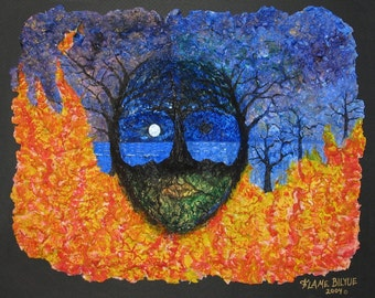 Transformational art, dream imagery, fantasy landscape, Fire and water, spring and fall