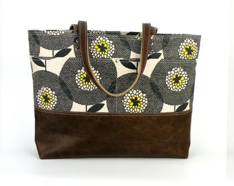 Skinny LaMinx purse, Tablet bag, Leather bottom bag, Computer tote, Tote handbag, Knitting bag, Large purse, Carryall floral print bag