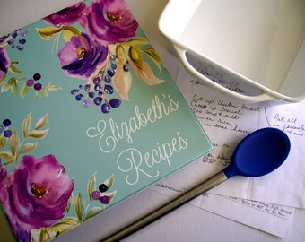 Personalized Floral Recipe Binder