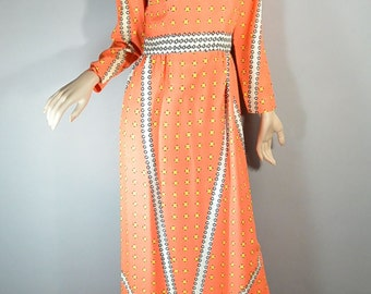 60s Maxi Dress// Psychedelic 60s Dress// Long Tangerine Dress (F1)