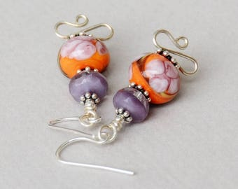 Peachy Keen Lampwork, Crystal and Sterling Earrings - Happy Shack Designs - Handmade Lampwork Earrings - Peach and Purple