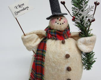 Chubby Charlie Snowman | Snowman decor | Primitive Snowman | Christmas decoration | Rustic Farmhouse snowman | Snowman collector gift