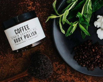 Coffee body polish, coffee scrub, coffee exfoliant, clears pores, remives dead skin cells, improves circulation, gift for her