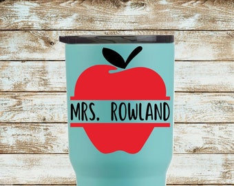 Apple Decal with Name | Teacher Decal | Yeti Decal | Car Decal | Laptop Decal | Choose Your Size and Color