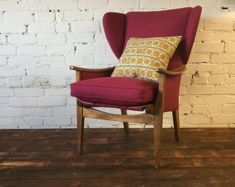 SOLD******Mid Century Modern Restored and Upholstered Parker Knoll Wingback Arm Chair