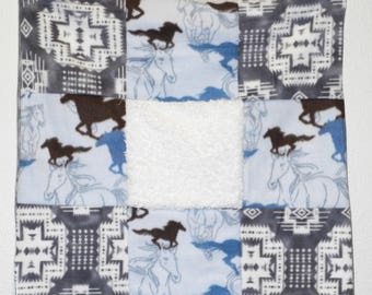 Western gray and blue horse baby quilt, car seat, crib or lap blanket