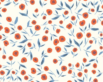 No Place Like Home - Poppies, Poppies - 1 YARD Organic Cotton - Cloud 9 Fabrics 203101