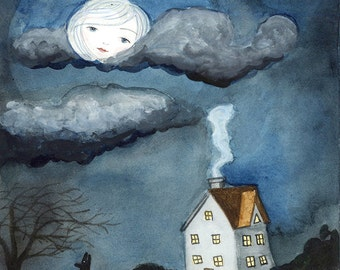 House in Moonlight - Wolf Howling, Dreaming of Home, Face in Moon, Art PRINT 8x10