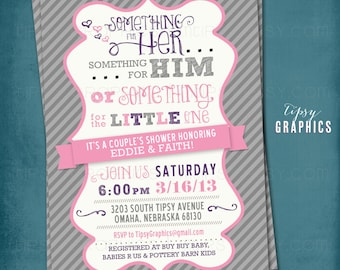Coed Couple's Baby Shower Invite. Chevron. Something for Him, Her or Something for the Little One. By Tipsy Graphics. Any colors