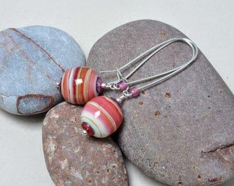 Strawberry earrings - Lampwork jewerly by Loupiac