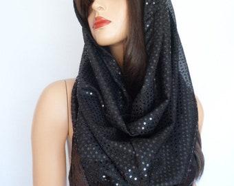 black sequin snood, black sequin scarf, festival hood