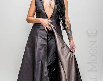 "NEW: The Metallic Silver ""DragonSkin"" REVERSIBLE to Gray Opera Vest Hoode Long Dress by Opal Moon Designs (Size S-XXL)"
