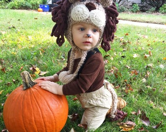 Lion Hat and Tail  - Lion Costume Hat and Pin on Tail - Baby Halloween Costume - Infant Lion Costume and Tail - by JoJosBootique