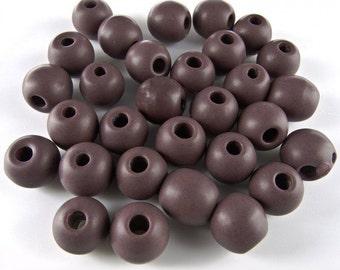 Group of 30 vintage Czech matte glass brownish purple beads 9x8mm. b19-0336(e)