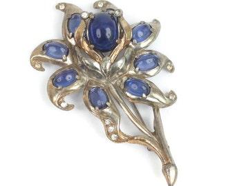 Large Flower Brooch Blue Cabochons Clear Rhinestones Pot Metal Vintage