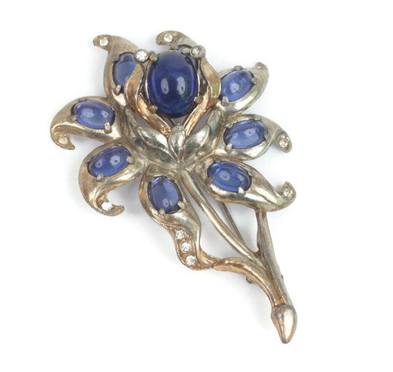 Large Flower Brooch Blue Cabochons Clear Rhinestones Pot Metal Vintage