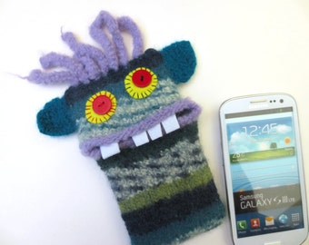 "Smartphone mobile monster, cellphone, supervisor ""Glen"", wool, knitted, felted, felt, cell phone case, bag, Monster"