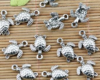 10  Sea Turtle Charms. Turtles, Ocean Charm, Underwater Charms, Sea Charms, DIY Charms, Silver Charms, Jewelry Supplies, Beading Supplies
