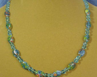 "Pretty 20"" Aqua Blue Milliflori Glass Beaded Necklace - N466"