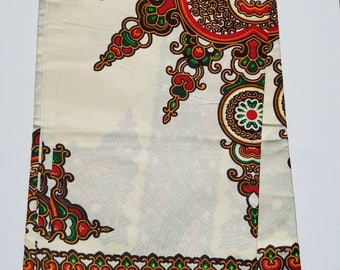 Off White and Red African Dashiki Fabric