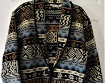 FLASHBACK Jacket Bolero Aztec Tapestry Southwest Blue Beige Black Design Size L