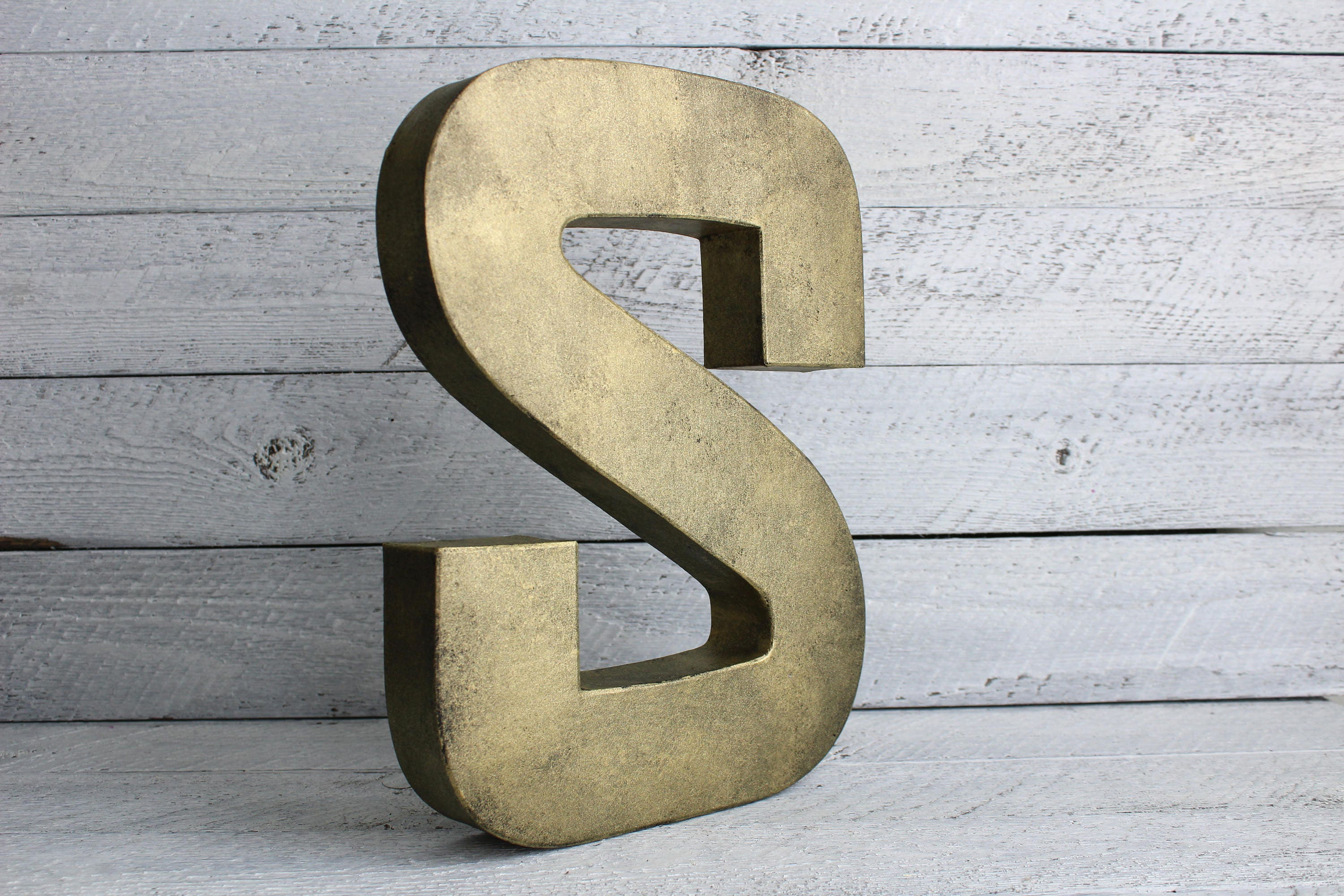Extra Large Galvanized Letters Brass Letters Brass Decor Vintage Brass Metal Monogram