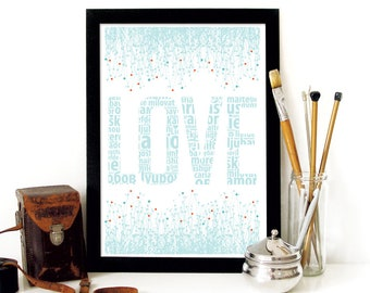 LOVE Poster inspired in pastel colors vintage soft typograhy for lovers and friends wonderful gift