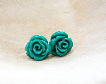 Emerald Rose Earrings Green Resin post Earrings