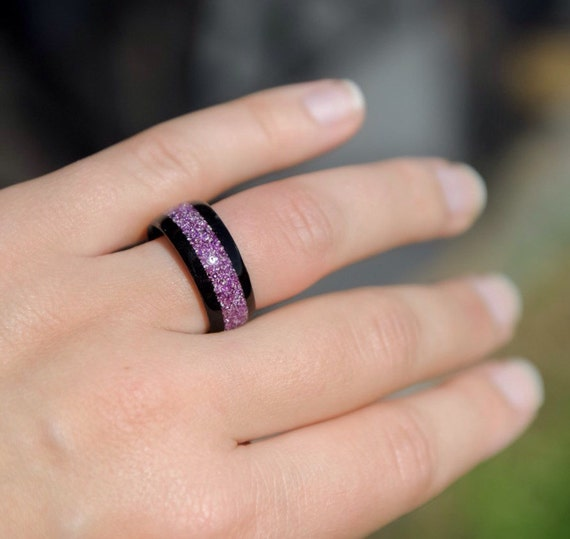 Wood Ring Hybrid Ebony Ring German Purple Glass Inlay