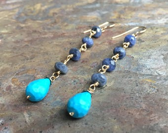 Turquoise and sodalite gemstone gold dangle earrings