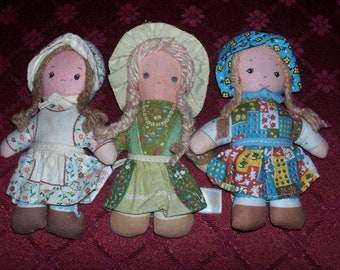 "Set of 3 Holly Hollie Hobbie Hobby Heather Amy Rag Doll 4"" Tall"