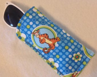 Whimsical Blue Eyeglass/Sunglass case, Tigger motif, lined/padded, Adults,Teens,Kids,-glasses not included-