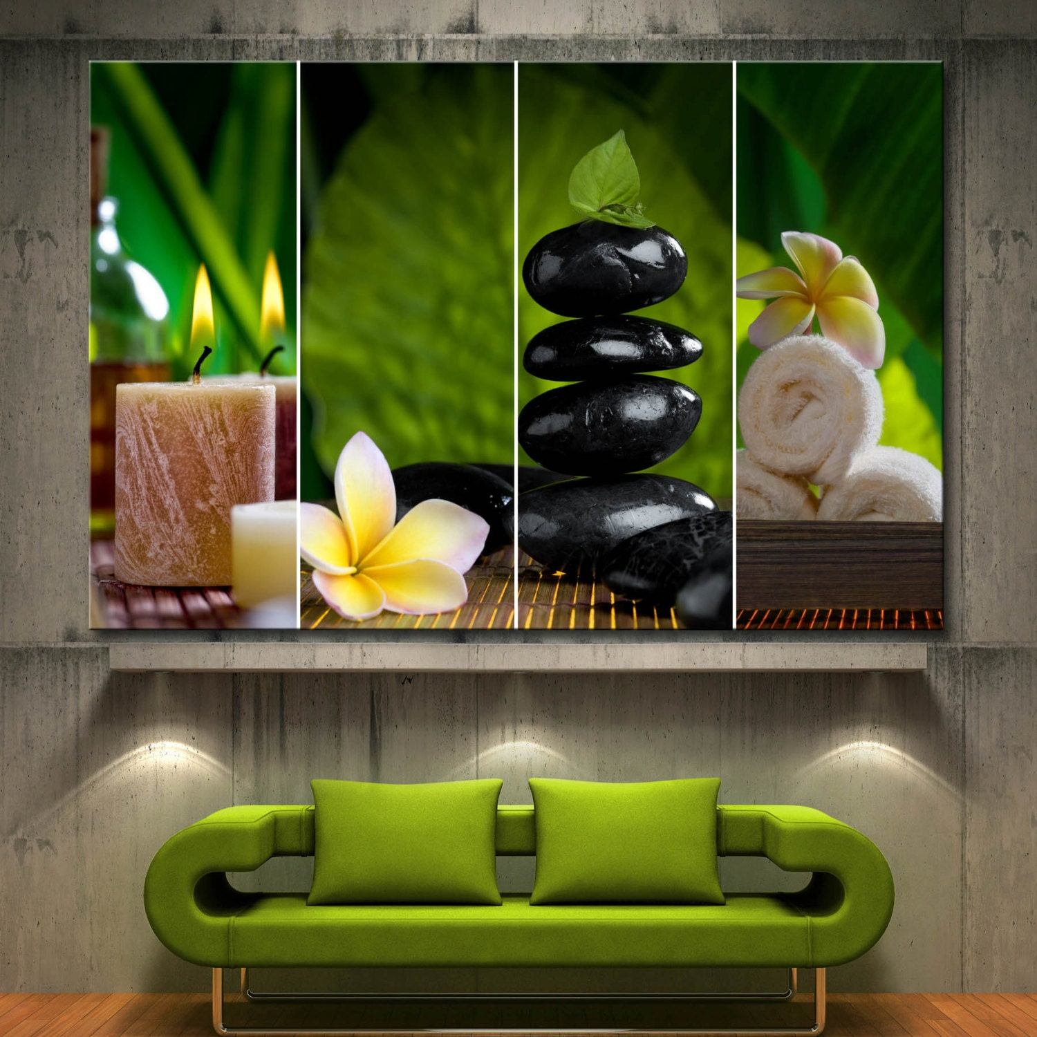 1 piece flowers candle zen spa collage decor wall art canvas. Black Bedroom Furniture Sets. Home Design Ideas