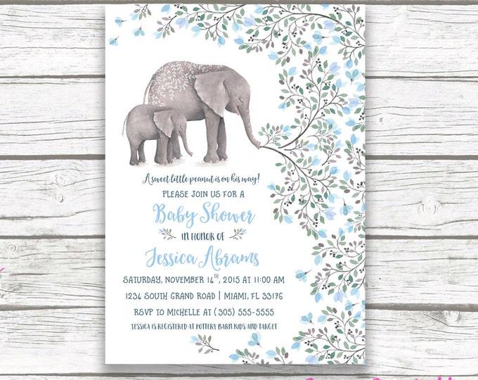 Elephant Baby Shower Invitation Boy, Little Peanut Baby Shower Invitation, Boy Baby Shower Invite, Blue Elephant Printable Invitation