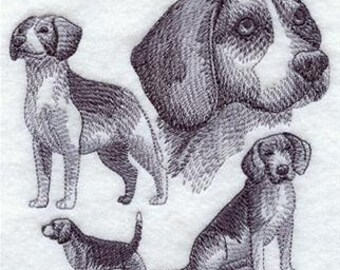 Beagle Dog Sketch design - Embroidered Flour sack towel pair Great Gift!