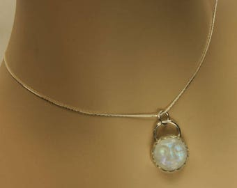 Rainbow Moonstone Necklace, Carved Rainbow Moonstone, Man in the Moon Sterling Silver Necklace, Pendant, Chain