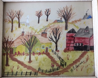 Tiny Vintage Farmhouse Painting - Folk Art
