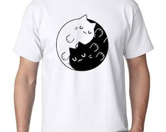 New Yin Yang Cats Kittens T shirt tee Men